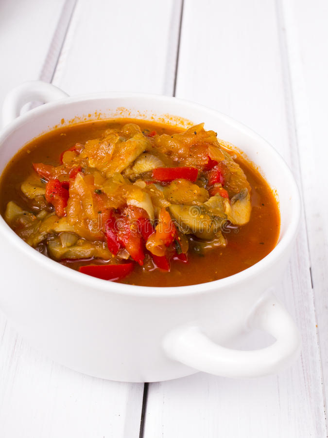 Letcho with paprika, zucchini and mushroom stock images