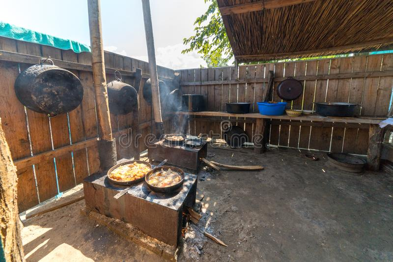 Letea, Danube Delta, Romania, August 2017: Traditional cooking a stock images