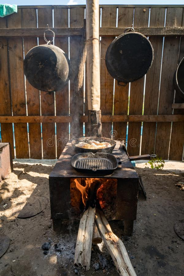 Letea, Danube Delta, Romania, August 2017: Traditional cooking a royalty free stock photo
