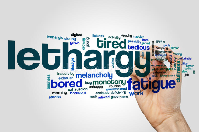 Lethargy word cloud. Concept on grey background stock photo