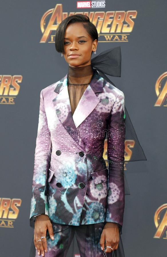 Letitia Wright. At the premiere of Disney and Marvel`s `Avengers: Infinity War` held at the El Capitan Theatre in Hollywood, USA on April 23, 2018 royalty free stock images