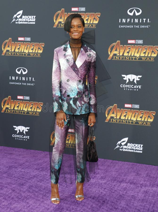 Letitia Wright. At the premiere of Disney and Marvel`s `Avengers: Infinity War` held at the El Capitan Theatre in Hollywood, USA on April 23, 2018 royalty free stock image