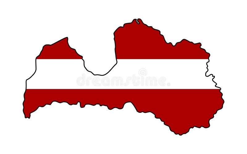 letland Kaart van de vectorillustratie van Letland stock illustratie