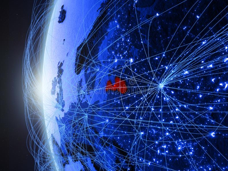 Letland op blauwe Aarde met netwerk stock illustratie