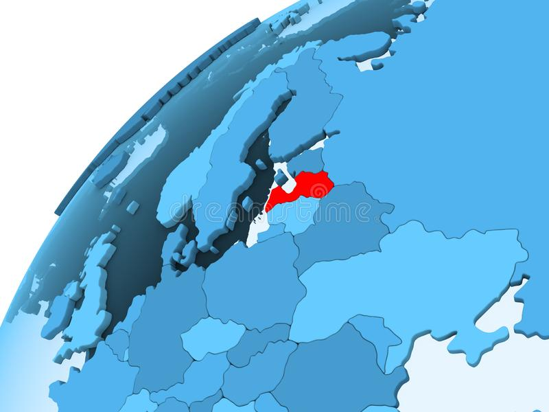 Letland op blauwe bol royalty-vrije illustratie