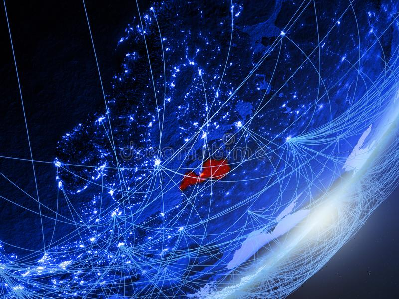 Letland op blauwe blauwe digitale Aarde stock illustratie