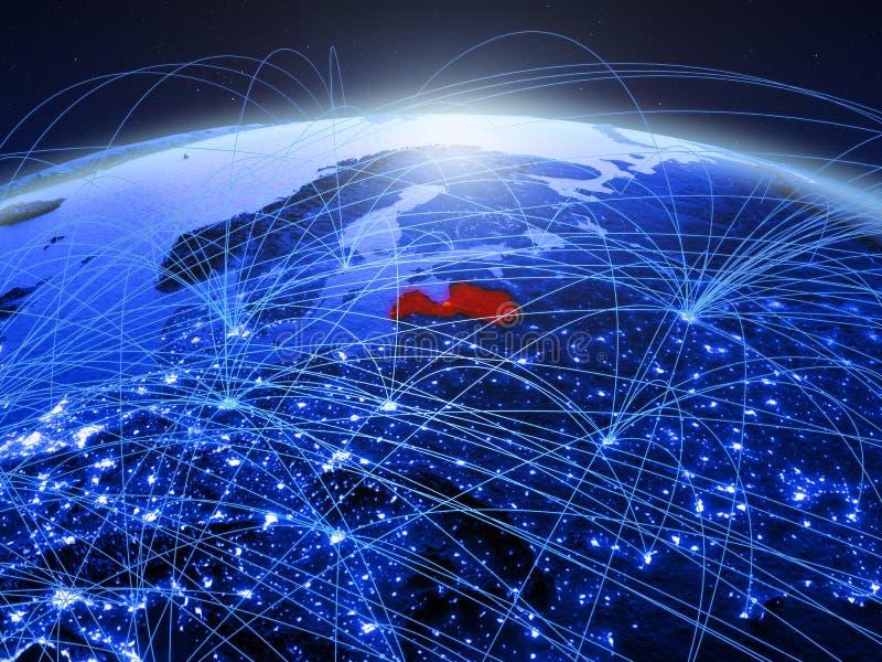 Letland op blauwe digitale aarde met internationaal netwerk die mededeling, reis en verbindingen vertegenwoordigen 3D Illustratie royalty-vrije stock foto