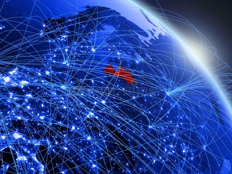 Letland op blauwe blauwe digitale bol royalty-vrije illustratie