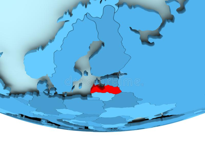 Letland in rood op blauwe kaart royalty-vrije illustratie