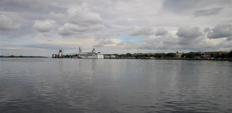 letland Stad van Riga Daugava stock foto