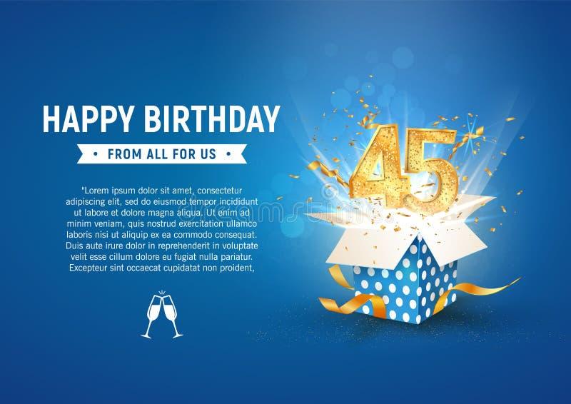 45-letni baner rocznicowy z otwartym pudełkiem na prezent Szablon czterdzieści pięć urodzin świętowanie i abstrakcyjny tekst na n ilustracji