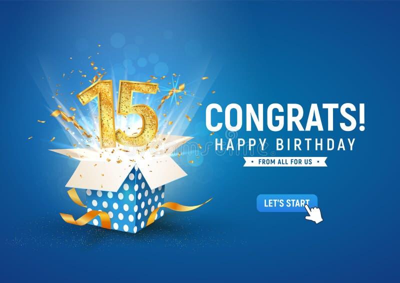15-letni baner rocznicowy z otwartym pudełkiem na prezent Szablon piętnaste urodziny świętowanie i abstrakcyjny tekst na niebiesk royalty ilustracja