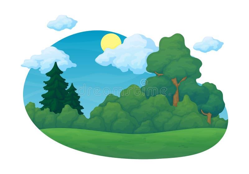 Letni dzień wiejska scena Zielona łąka z drzewami i krzakami sosnowymi i jedlinowymi Niebieskie niebo z chmurami w tle ilustracji