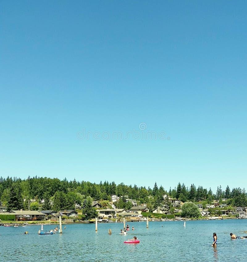 Letni Dzień przy jeziorem zdjęcie royalty free