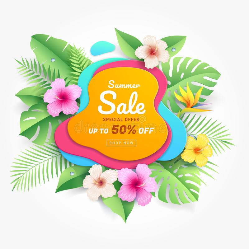 Letnia karta sprzedaży z kwiatami hibiscus na tle stylu ciętego papieru tropikalnego Wektor royalty ilustracja