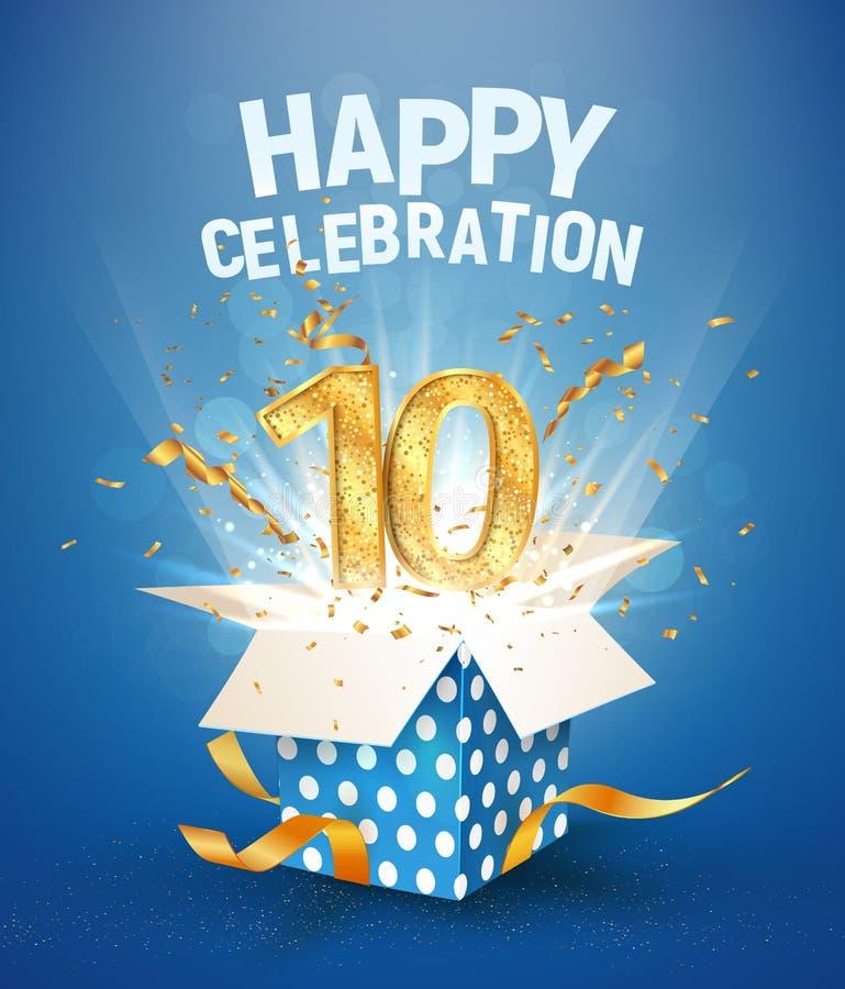 10-letnia rocznica i otwarcie pudełka z wybuchami konfetti Święto dziesiątych urodzin szablonu na niebieskim wektorze tła ilustracja wektor