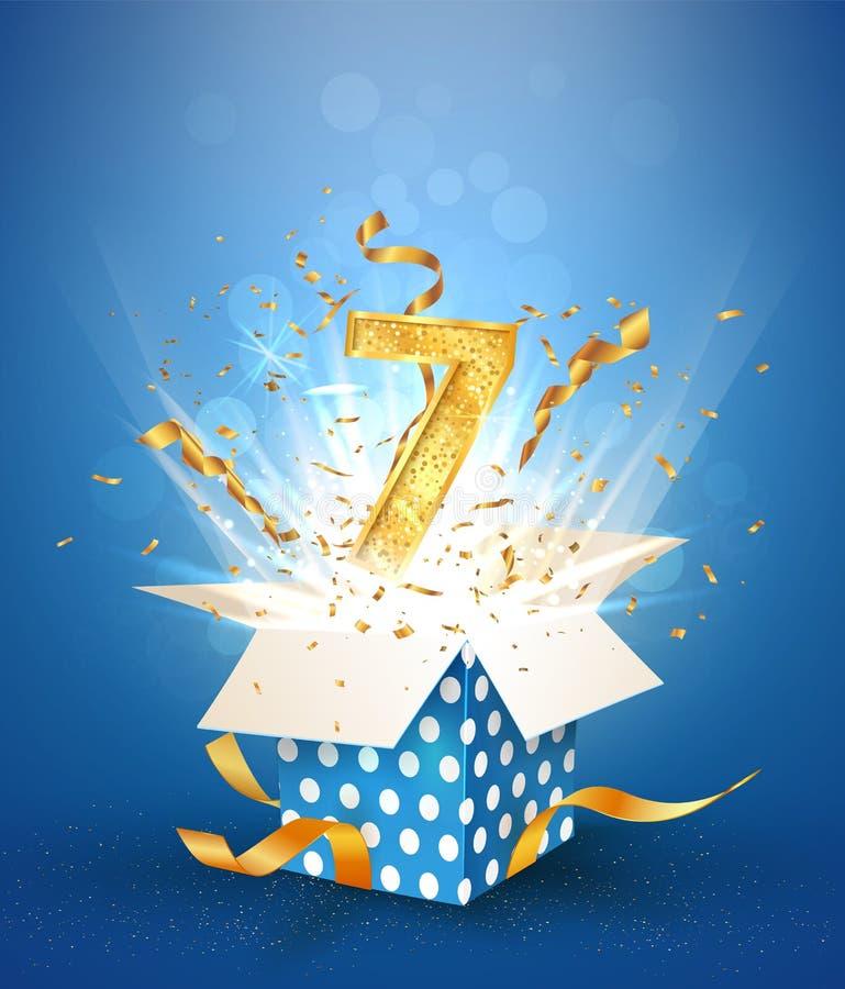 7-letnia rocznica i otwarcie pudełka z wybuchami konfetti Święto urodzinowe na tle niebieskiego wektora ilustracja wektor