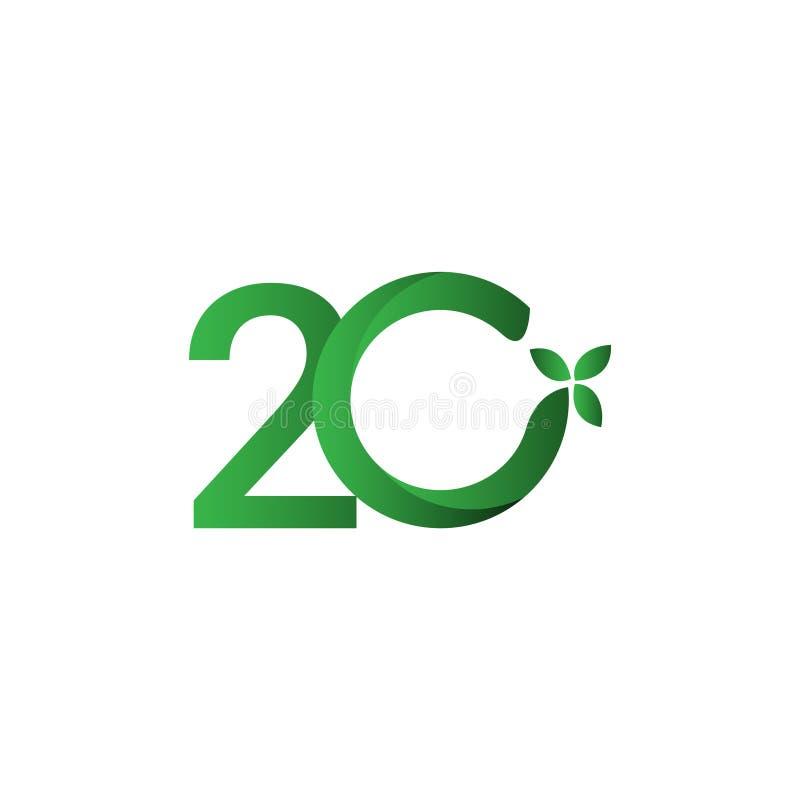 20-letnia rocznica zielonego opuszczenia szablonu wektora — ilustracja ilustracji