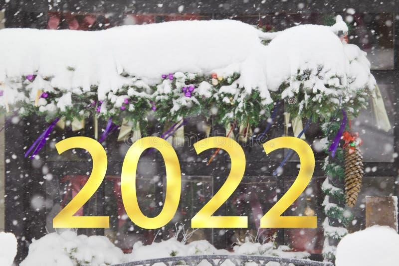 2022-letnie numery na temat opadających śniegów w tle świątecznym fotografia royalty free