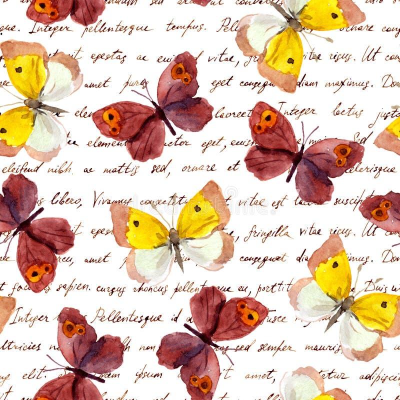 Letra à mão do texto da escrita das borboletas Teste padrão sem emenda Cor e tinta de água ilustração stock