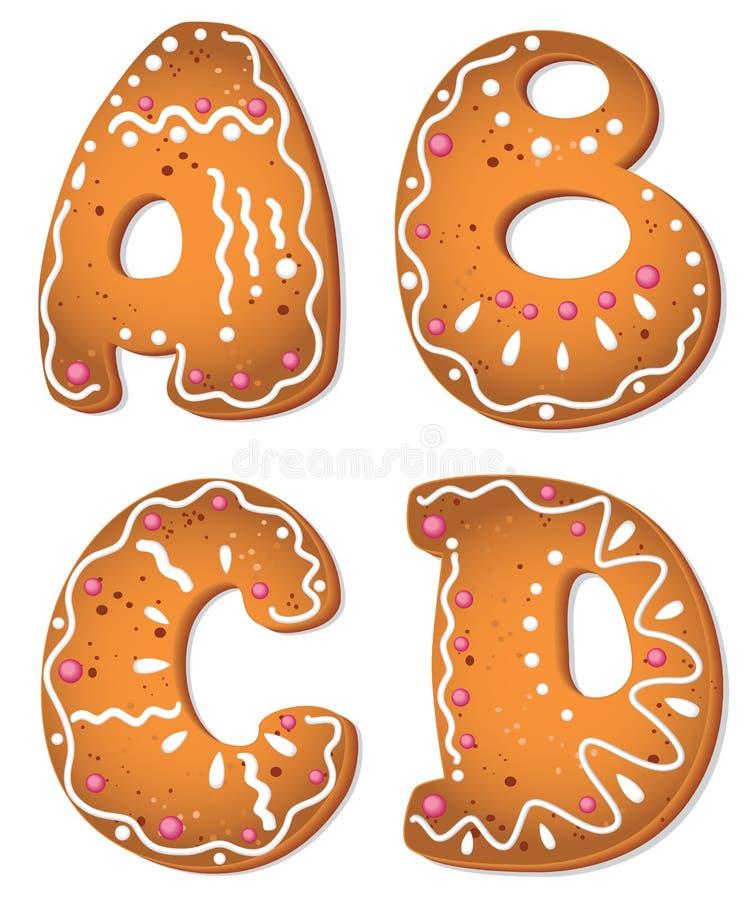 Letra ABCD de las galletas ilustración del vector