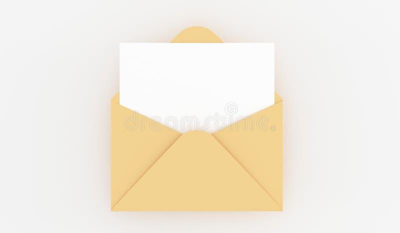 Letra aberta realística do correio com nota vazia ilustração do vetor