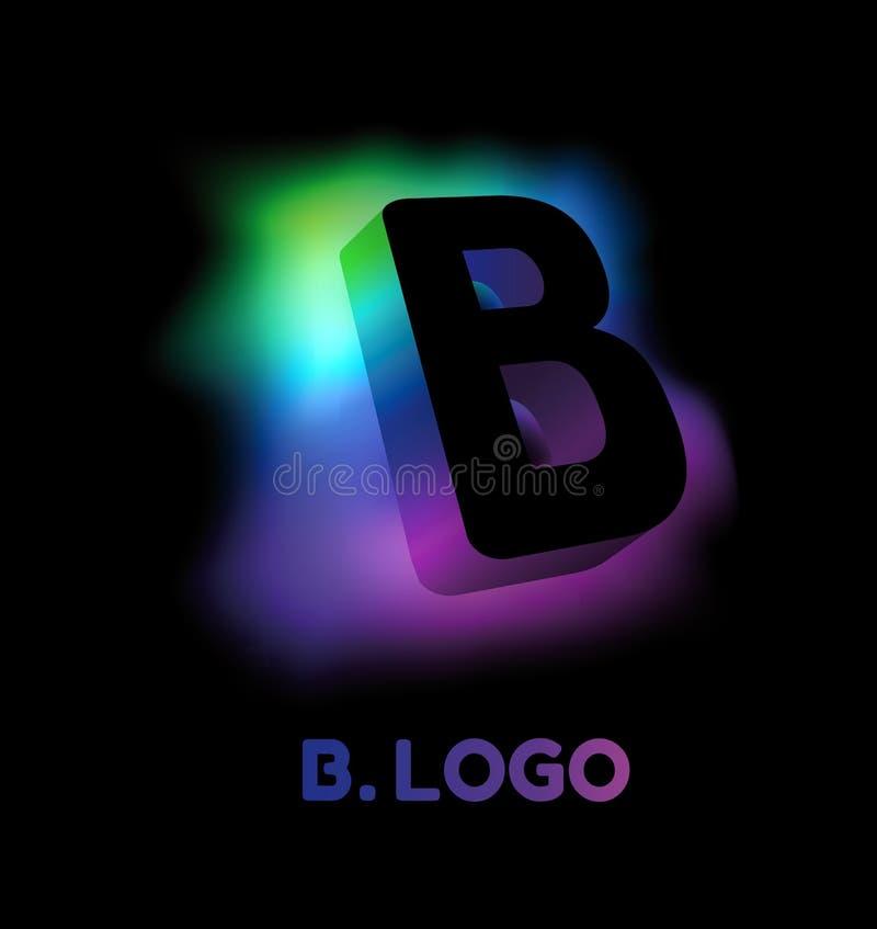 Letra abstracta B Estilo corporativo del resplandor del logotipo creativo del modelo 3D de la compañía o de la marca B Extracto d ilustración del vector