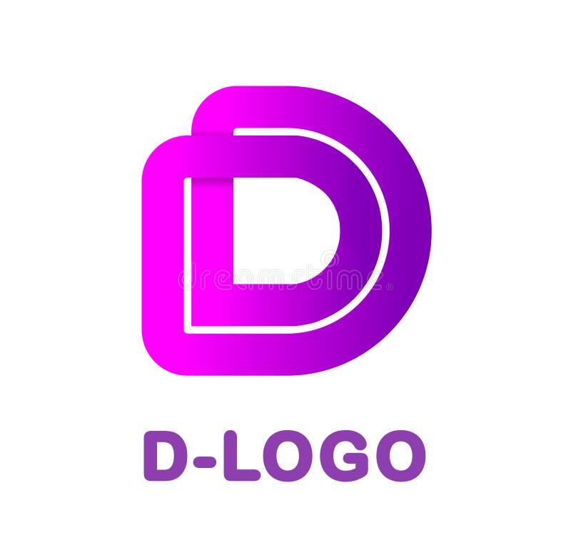 Letra abstracta D - ejemplo creativo del vector de la plantilla del logotipo Logotipo para la identidad corporativa de la compañí stock de ilustración