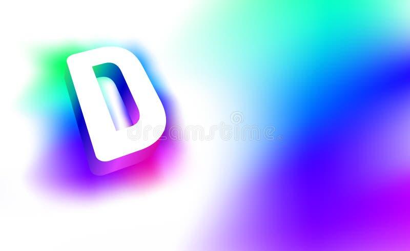 Letra abstracta D Plantilla de la identidad corporativa del logotipo creativo del resplandor 3D de la compañía o de la letra D de stock de ilustración