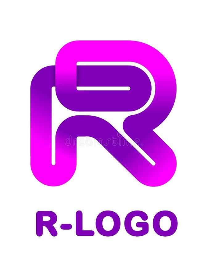 Letra abstracta R - ejemplo creativo del vector de la plantilla del logotipo Logotipo para la identidad corporativa de la cinta,  stock de ilustración