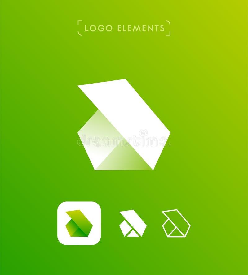 A letra abstrata b do triângulo ou origâmi denomina o molde do logotipo app ilustração royalty free