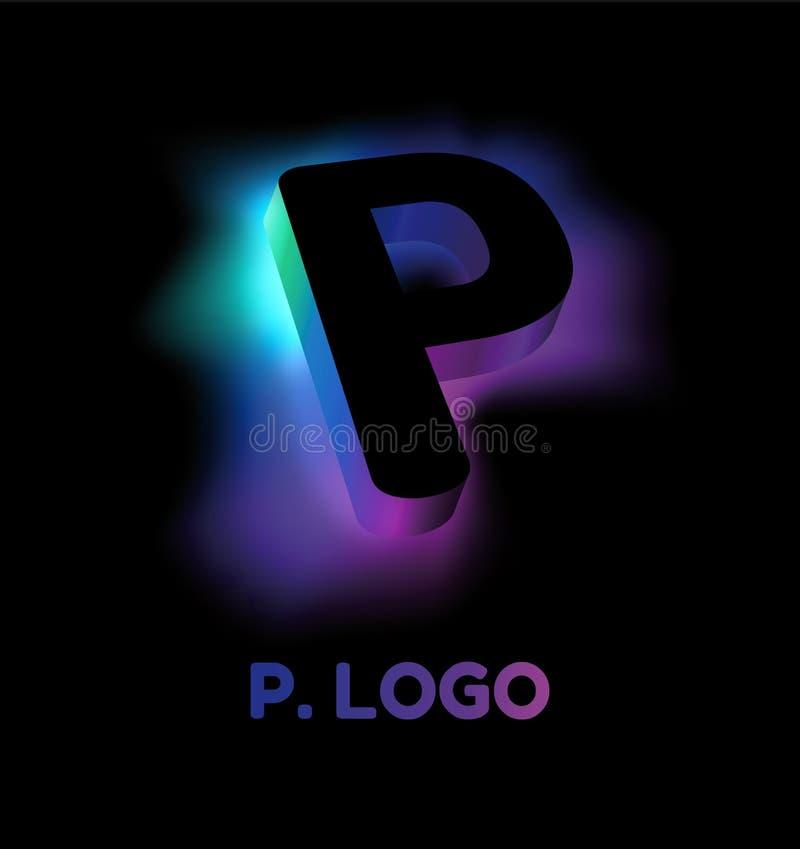 Letra abstrata B Estilo incorporado do logotipo criativo do teste padrão 3D do fulgor da empresa ou da marca P Sumário da letra p ilustração do vetor