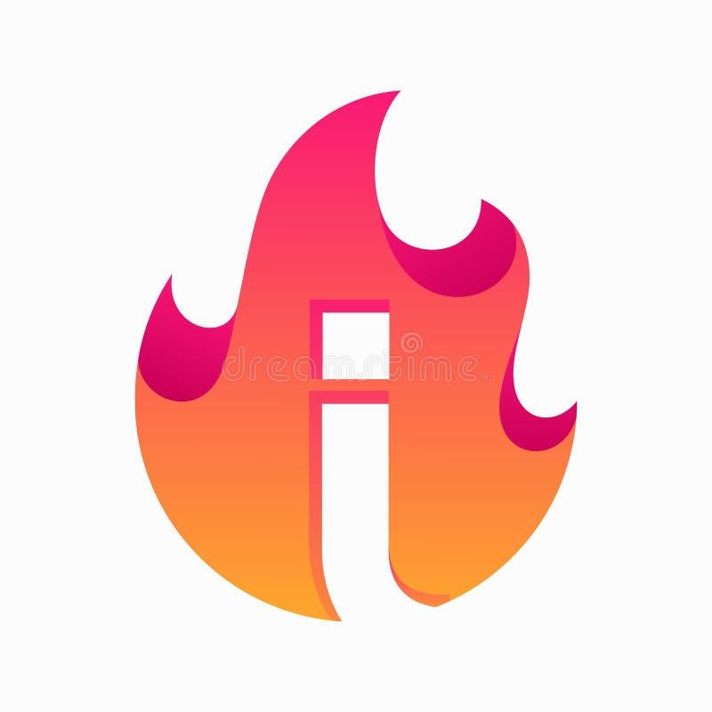 Letra abstrata do fogo eu projeto o molde do vetor ilustração stock