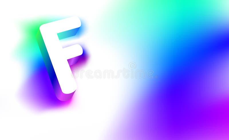 Letra abstrata F Molde da identidade corporativa criativa do logotipo do fulgor 3D da empresa ou da letra F da marca Sumário bran ilustração royalty free