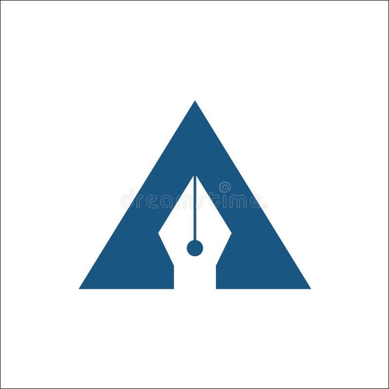 Letra abstrata um vetor do logotipo do símbolo da ferramenta da pena ilustração royalty free