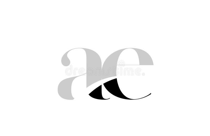 letra AE del alfabeto un diseño blanco y negro del icono del logotipo de e stock de ilustración
