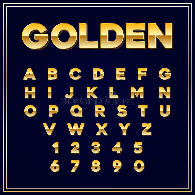 Letra alfabética do ouro das fontes com números Vetor eps10 ilustração do vetor