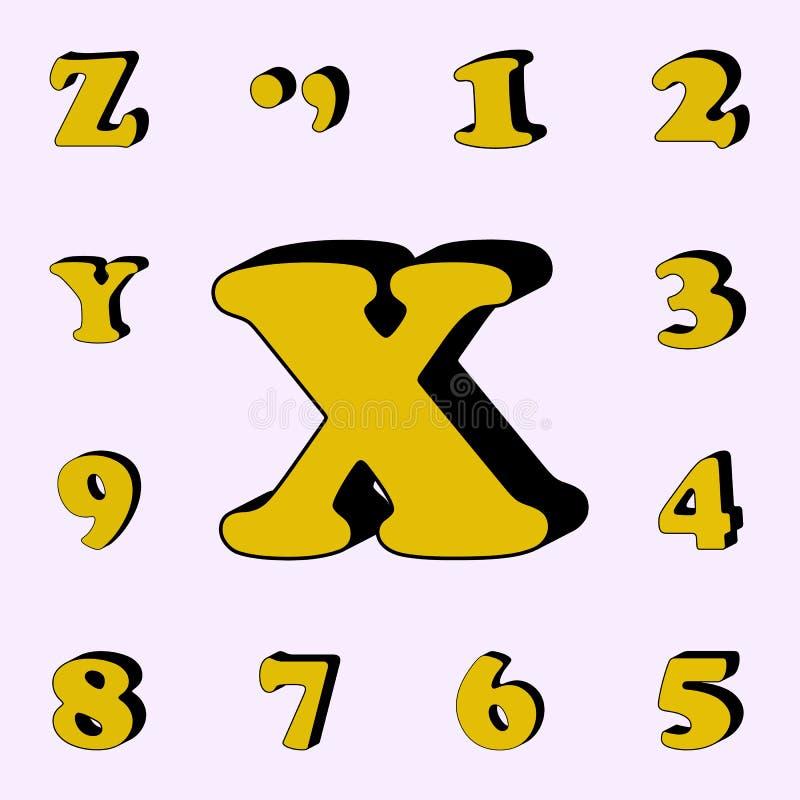 letra X, alfabeto, ícone 3D grupo universal dos ícones das palavras 3D para a Web e o móbil ilustração do vetor