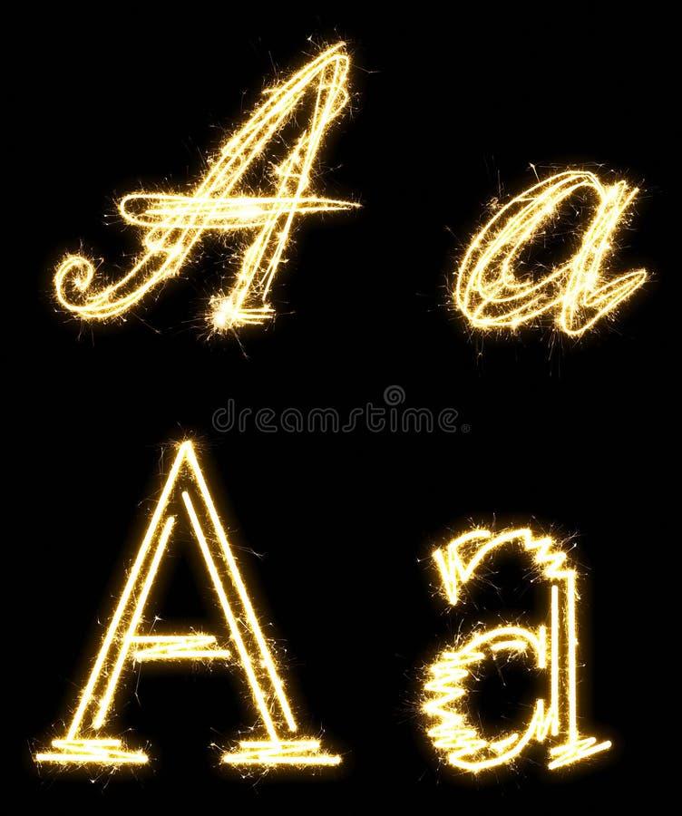 Letra A Alfabeto hecho por la bengala Aislado en un fondo negro stock de ilustración