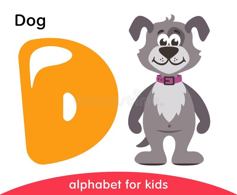 Letra amarela D e cão cinzento ilustração royalty free