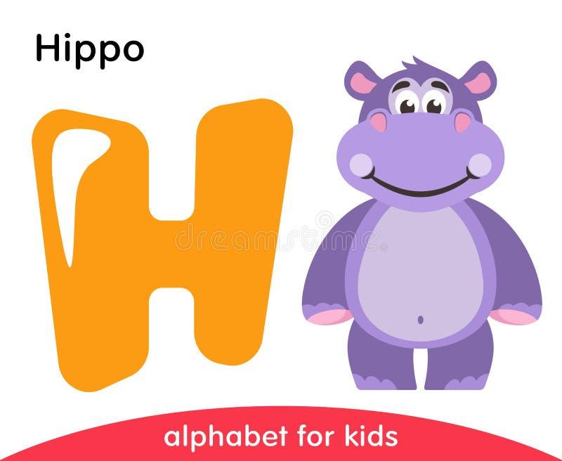 Letra amarela H e hipopótamo violeta ilustração do vetor