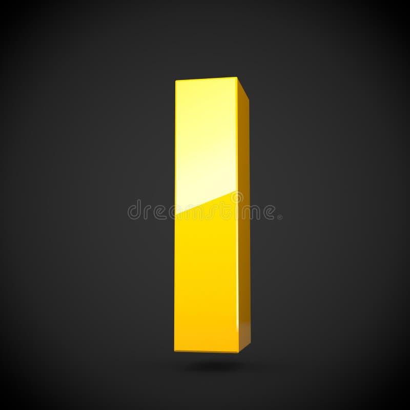 Letra amarela lustrosa L lowercase da pintura com reflexão do softbox ilustração stock