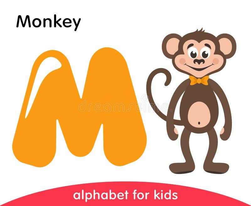 Letra amarela M e macaco marrom ilustração stock