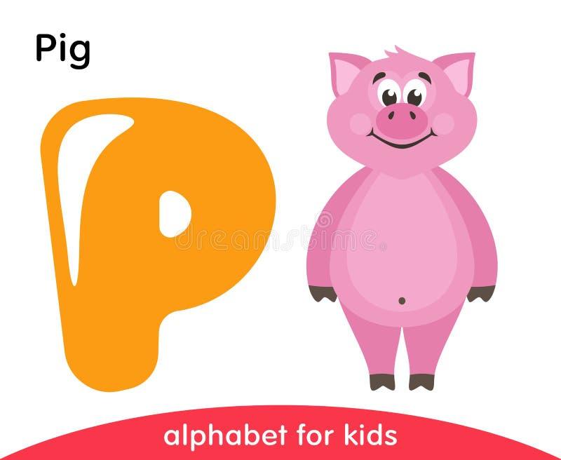Letra amarela P e porco cor-de-rosa ilustração do vetor
