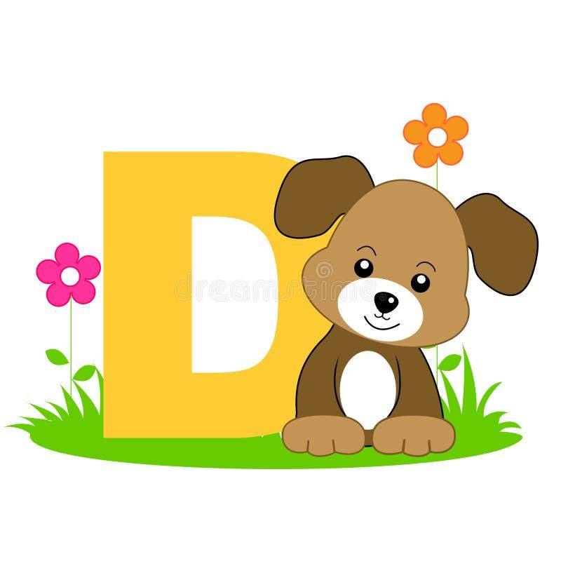 Letra animal do alfabeto - D ilustração stock
