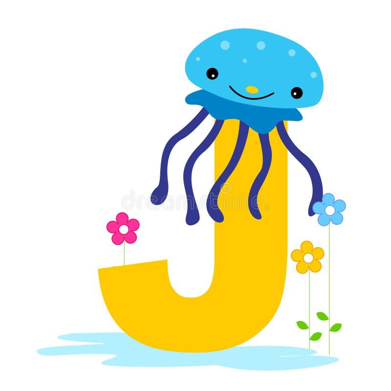 Letra animal do alfabeto - J ilustração stock