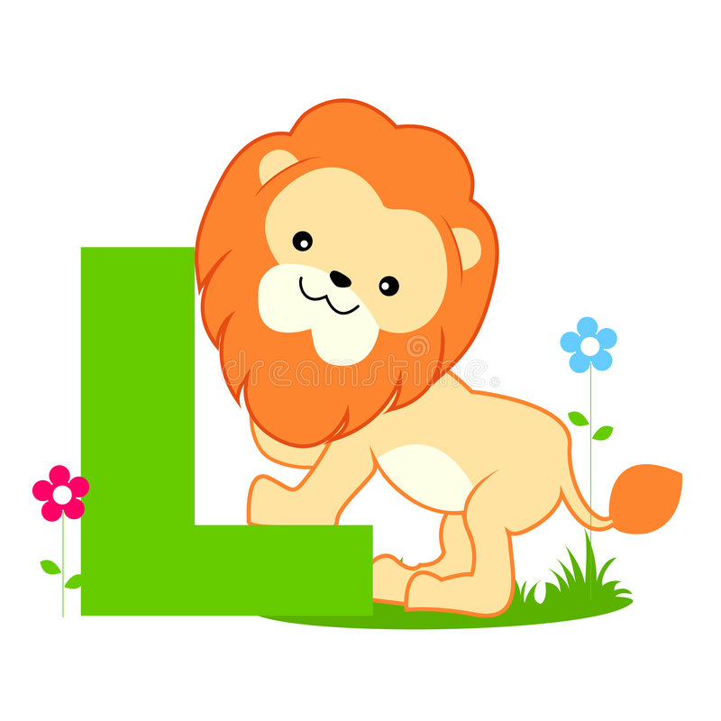 Letra animal do alfabeto - L ilustração royalty free