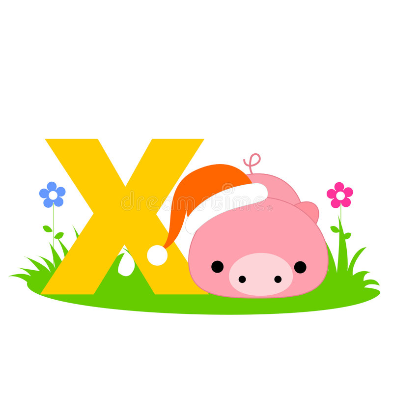 Letra animal do alfabeto - X ilustração royalty free