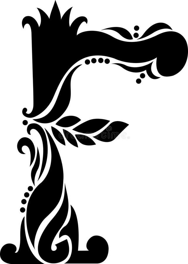 Letra antigua F del enrollamiento stock de ilustración
