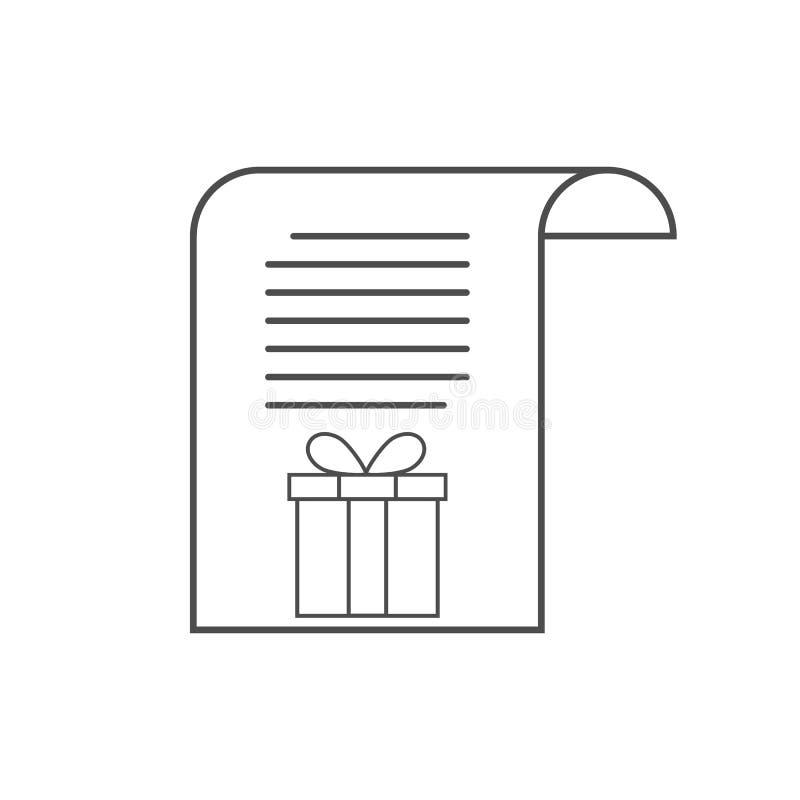 Letra ao ícone de Santa, ilustração do vetor da lista de objetivos pretendidos ilustração do vetor